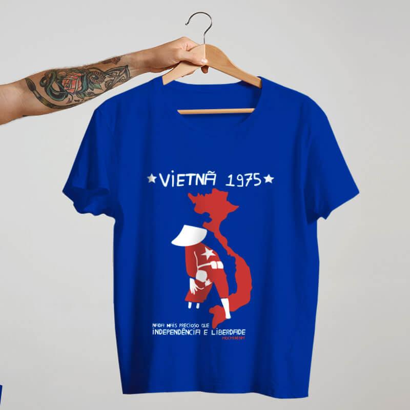 Camiseta básica de algodão azul - Vietnã