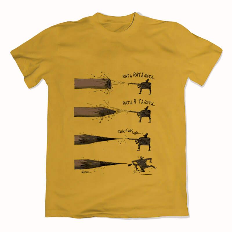 Camiseta de algodão Lápis X Arte Amarela por Cartunista das Cavernas