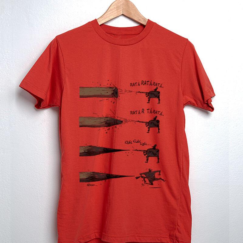Camiseta de algodão Lápis X Arte vermelha por Cartunista das Cavernas