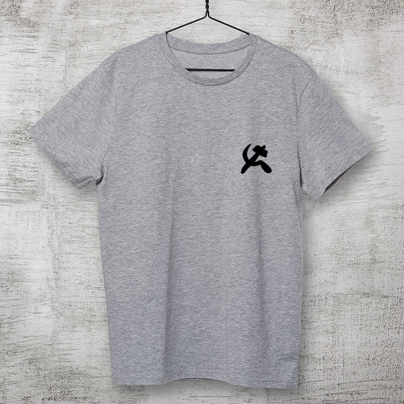 camiseta com escudo cinza clara básica de algodão Comunismo