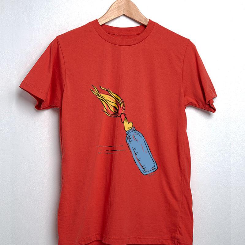 Camiseta Mamadeira de Piroca Molotov Vermelha por Cartunista das Cavernas