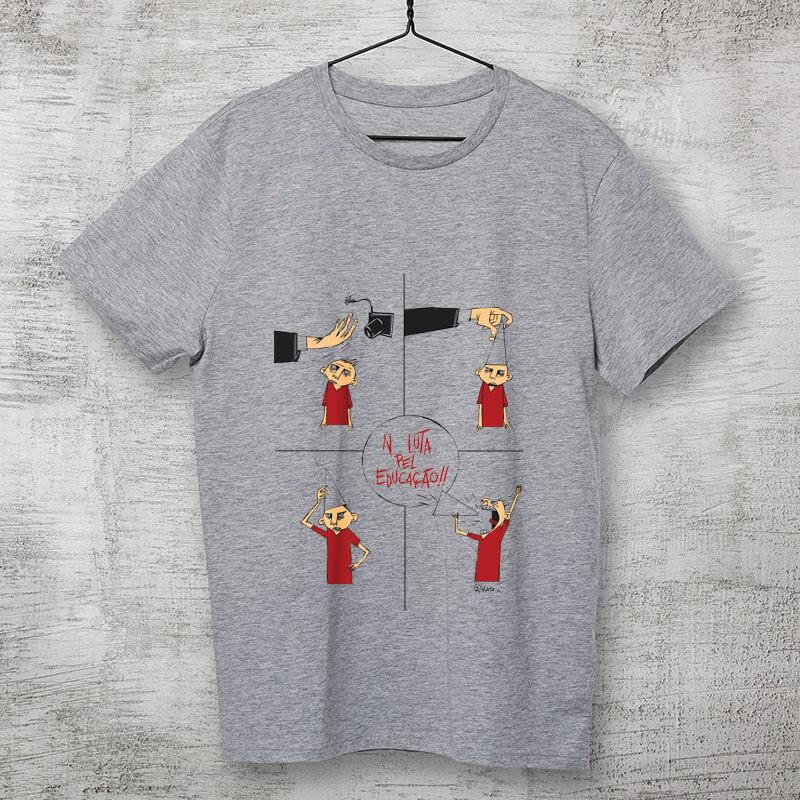 Camiseta Na luta pela educação Cinza por Cartunista das Cavernas