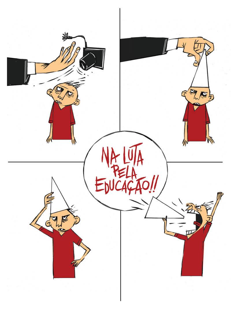 Ilustração Na luta pela educação por Cartunista das Cavernas