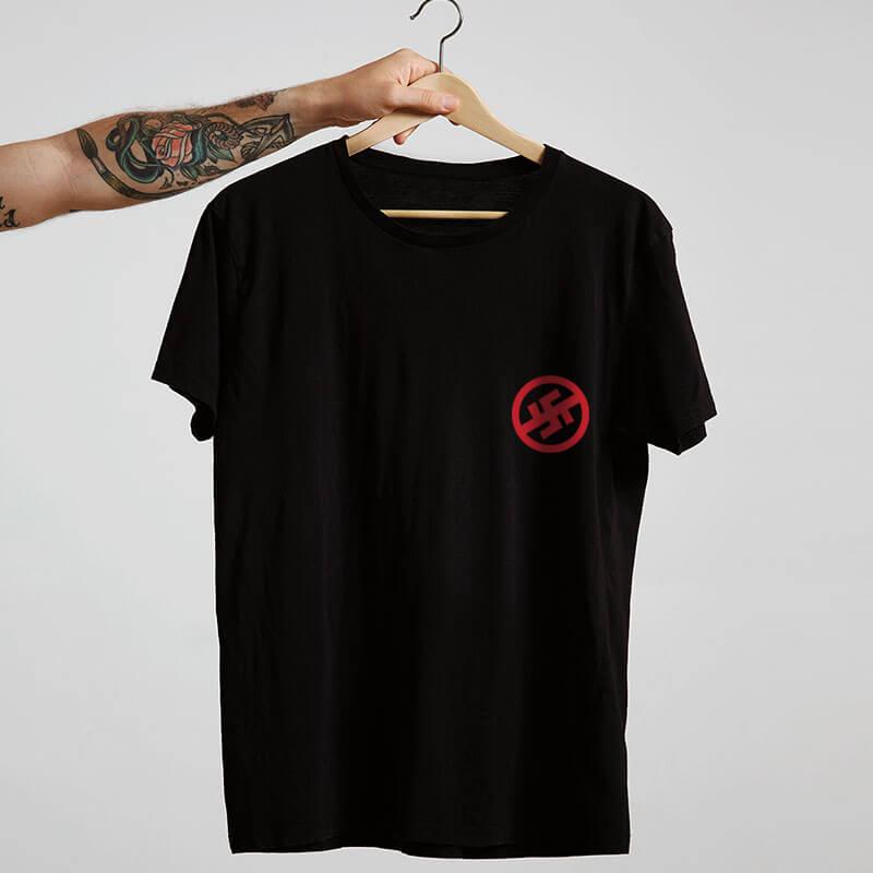 Camiseta preta de algodão - Resistência antinazista