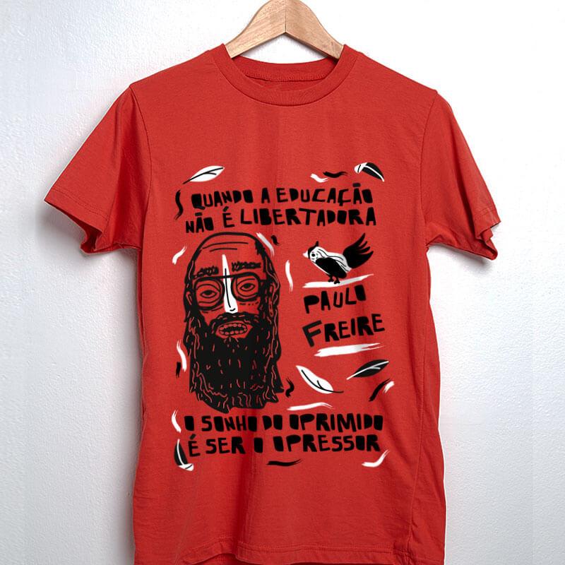 Camiseta vermelha de algodão Paulo Freire