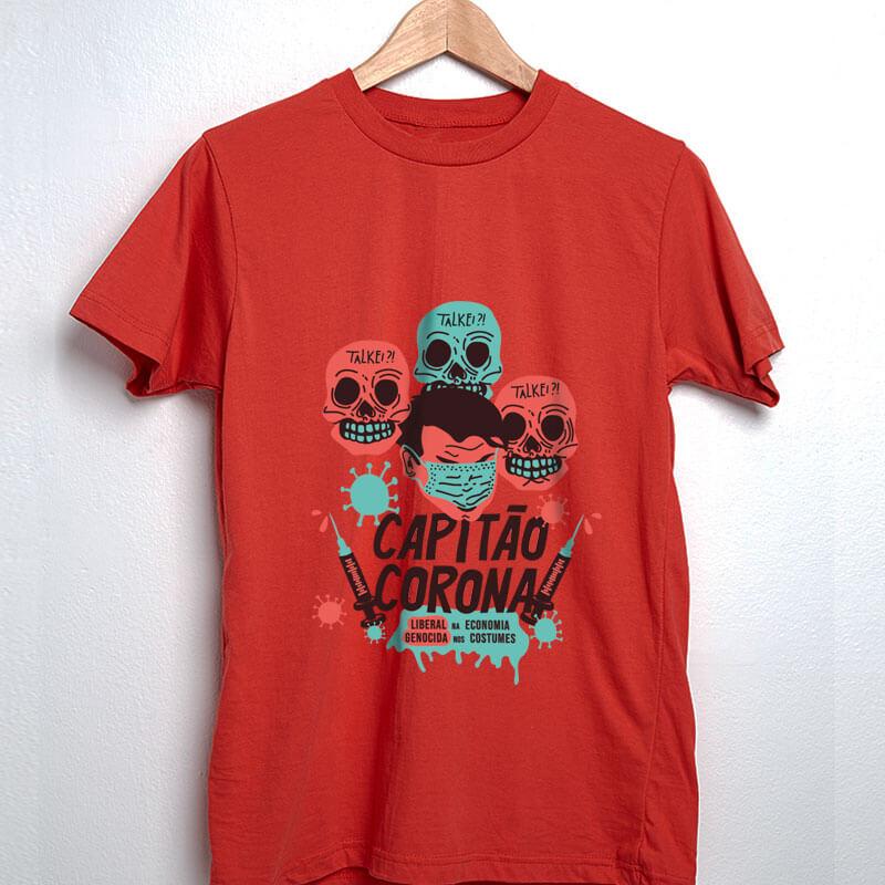 camiseta vermelha de algodão - Capitão Corona
