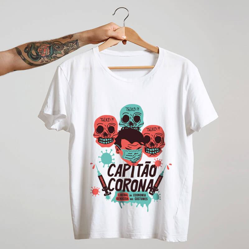 camiseta branca de algodão - Capitão Corona