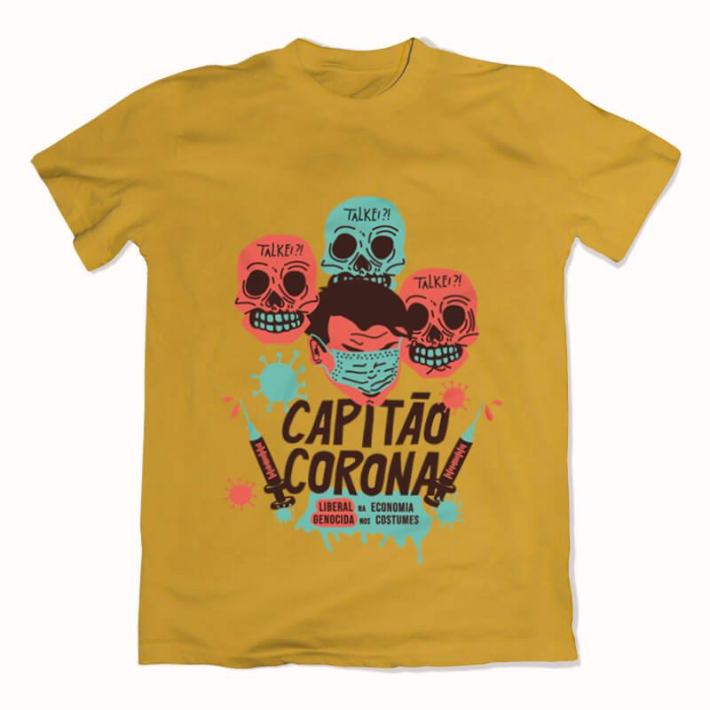 camiseta amarelo de algodão - Capitão Corona