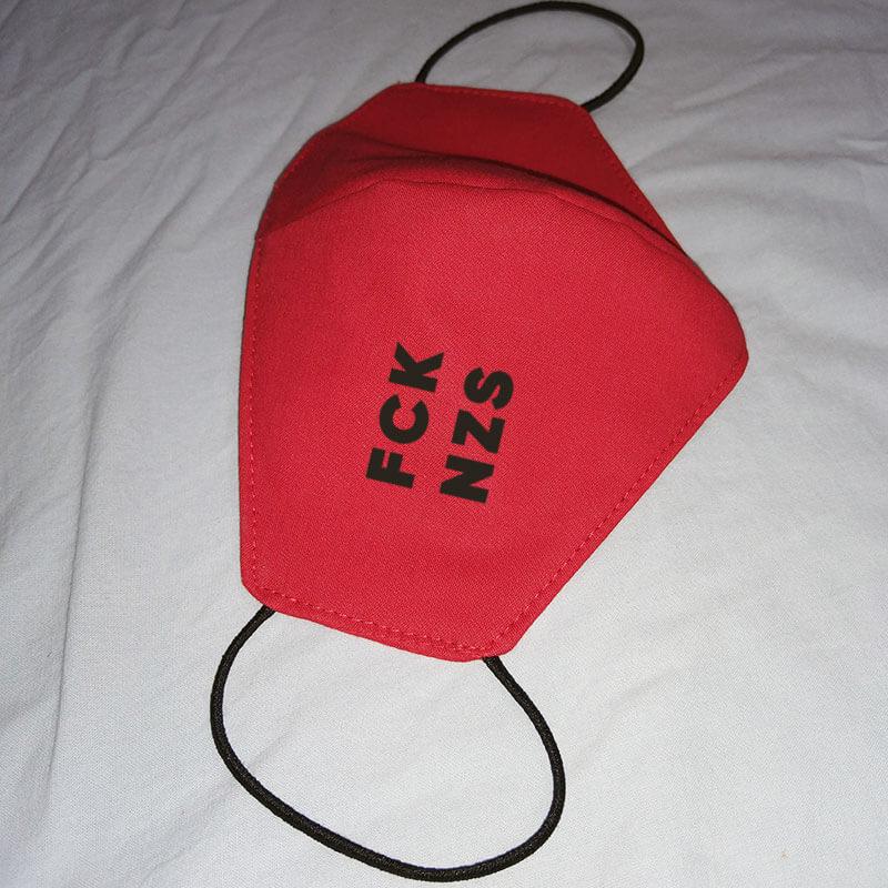 Máscara de algodão reutilizável vermelha - Fck Nzs