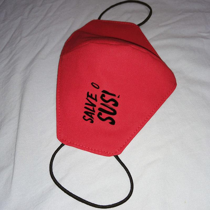 Máscara de algodão reutilizável vermelha - Salve o SUS