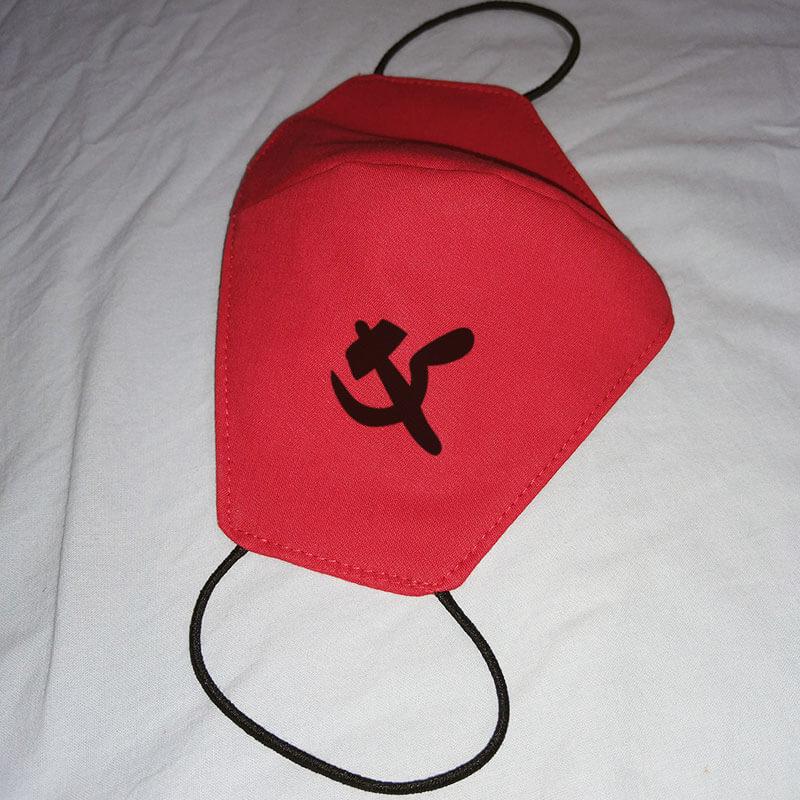 Máscara de algodão reutilizável vermelha - Comunista