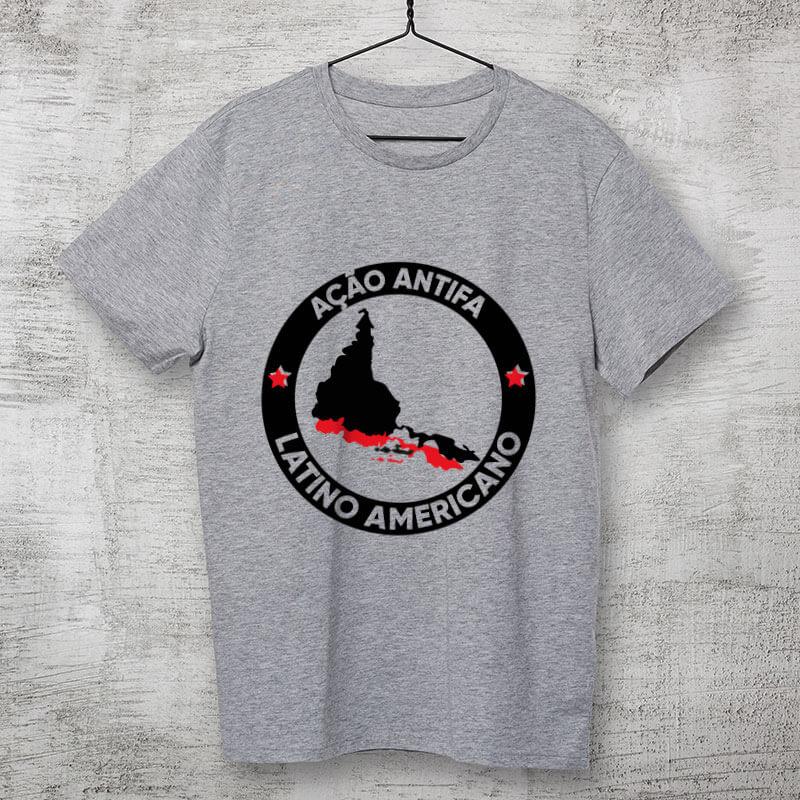 camiseta estampada algodao - Antifa Latinoamerica cinza mescla