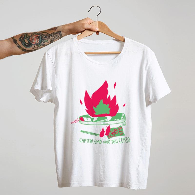 camiseta de algodão - branco - O capitalismo não deu certo