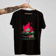 camiseta de algodão - preto- O capitalismo não deu certo