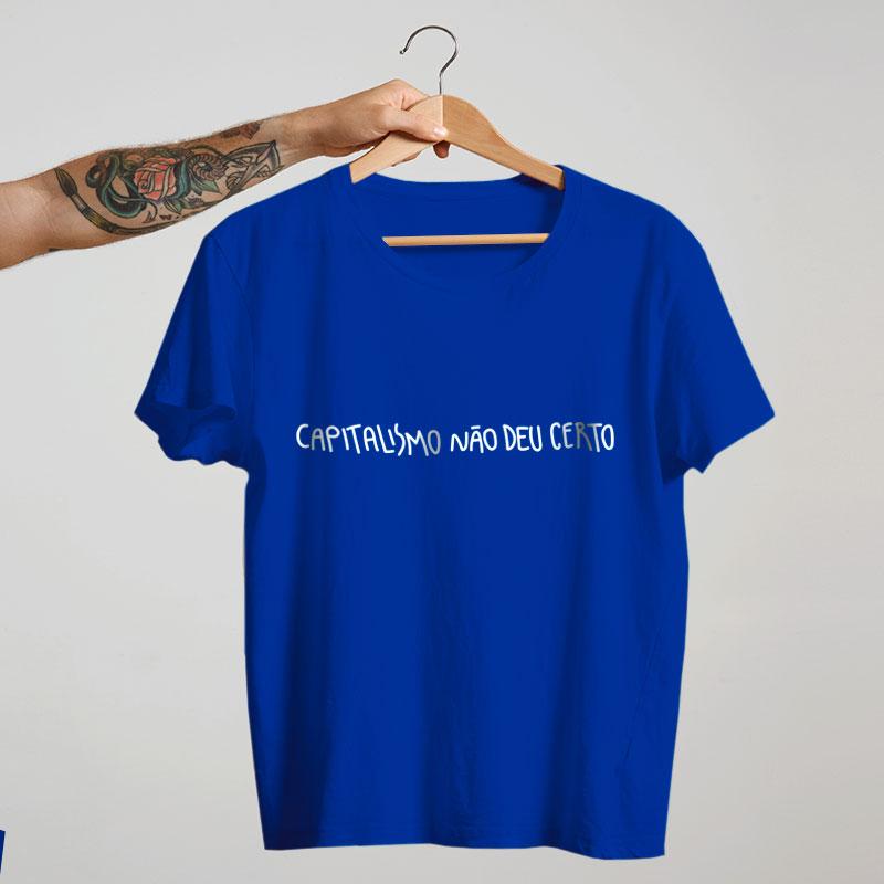 camiseta de algodão - Azul - O capitalismo não deu certo