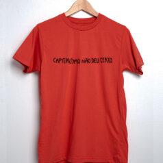 camiseta de algodão - vermelho - O capitalismo não deu certo
