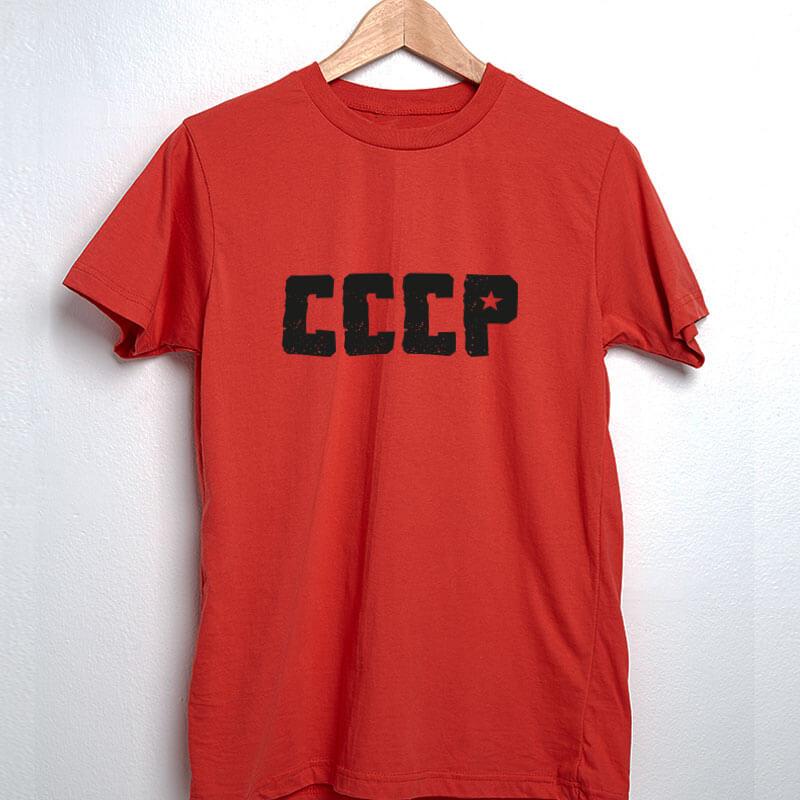 Camiseta vermelha CCCP de algodão