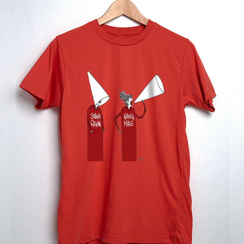Camisetas Vermelha ilustrada por Cartunista das cavernas