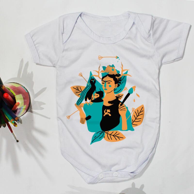 Body pra bebe branco manga curta - Frida Kahlo