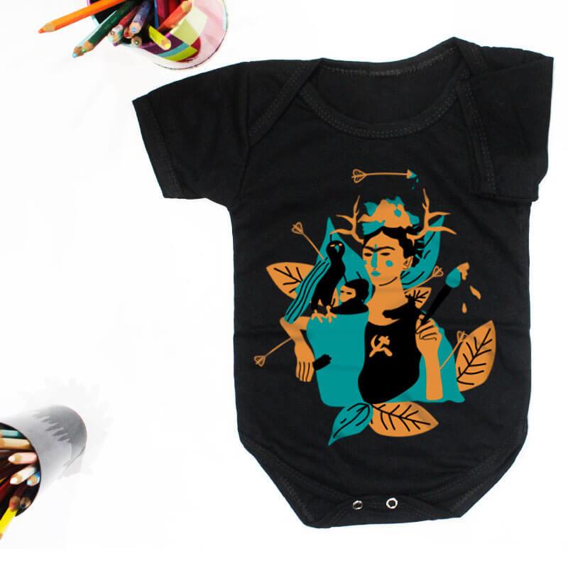 Body pra bebe preto manga curta - Frida Kahlo