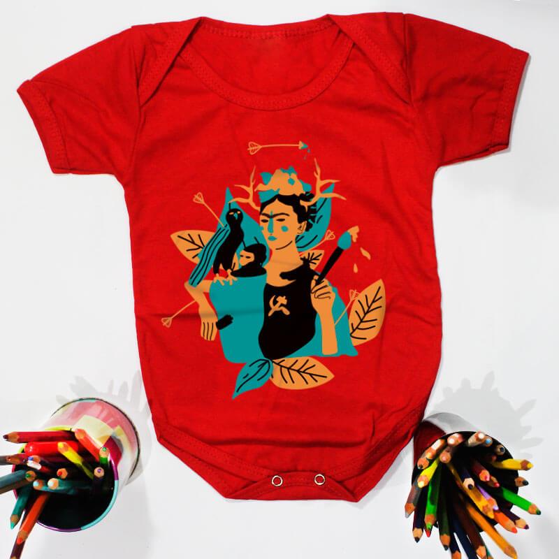 Body pra bebe vermelho manga curta - Frida Kahlo