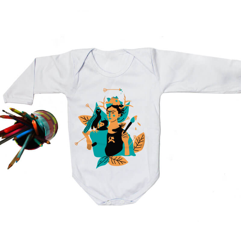 Body pra bebe branco manga longa - Frida Kahlo