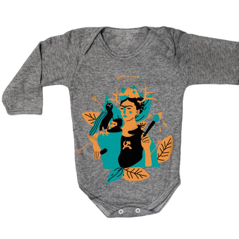 Body pra bebe cinza manga longa - Frida Kahlo