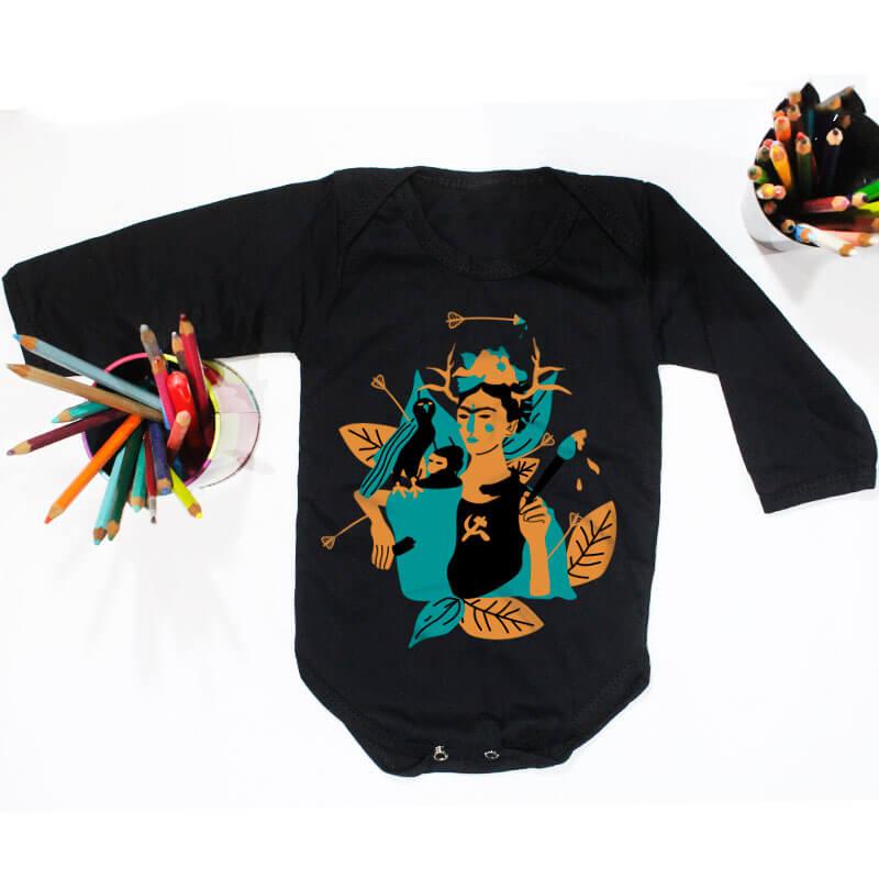 Body pra bebe preto manga longa - Frida Kahlo
