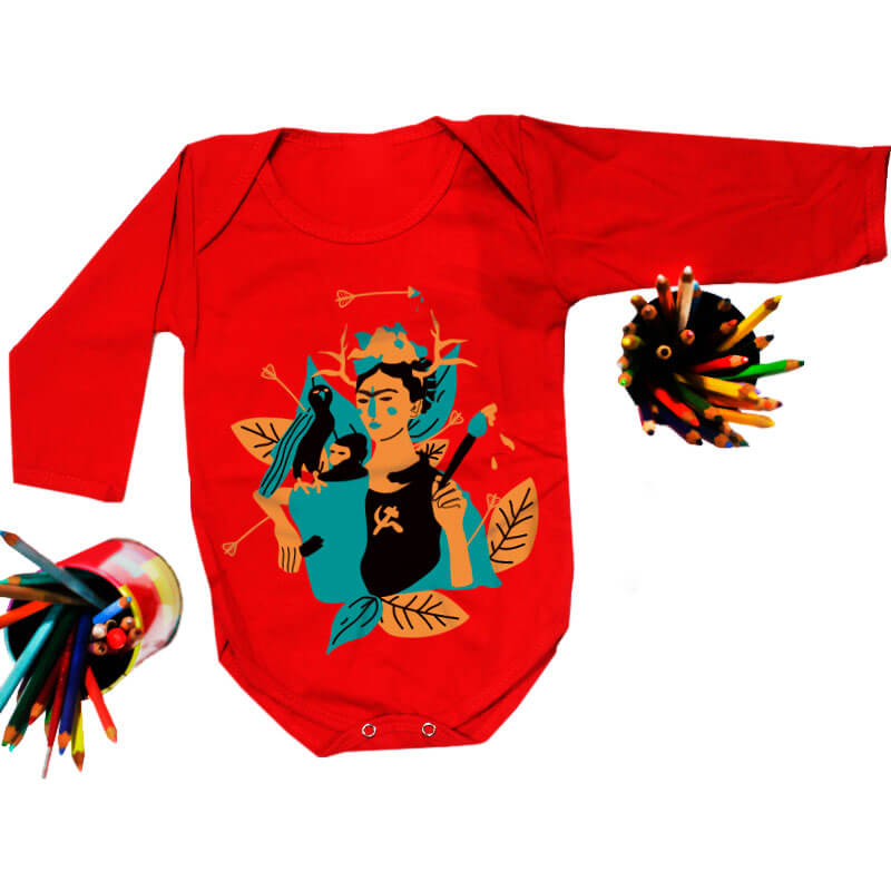Body pra bebe vermelho manga longa - Frida Kahlo