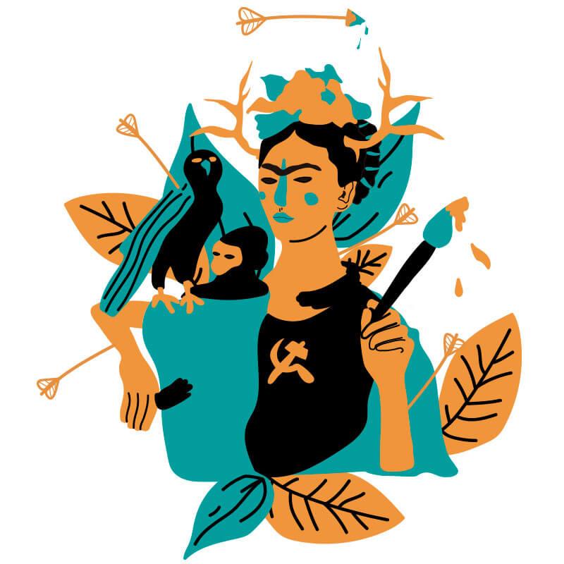 Ilustração Frida Kahlo por Alinne Martins