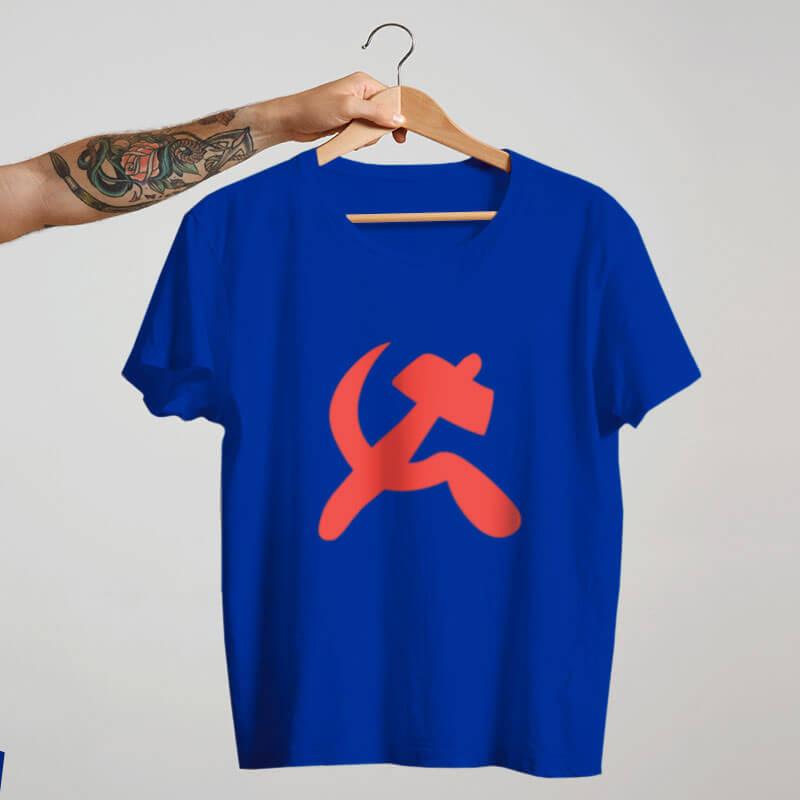 Camiseta foice e martelo comuna - azul
