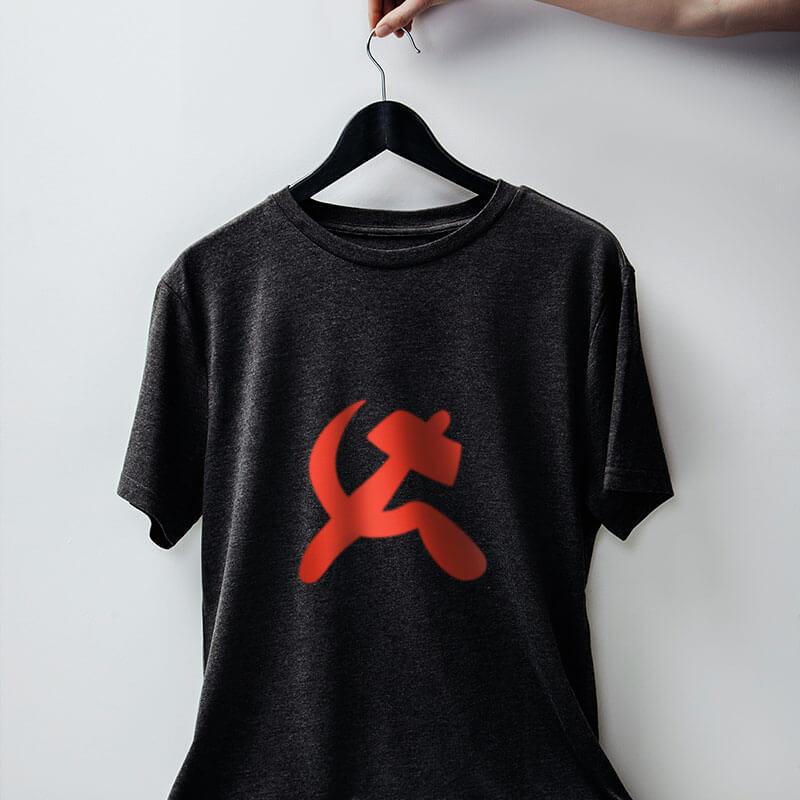 Camiseta foice e martelo comuna - chumbo
