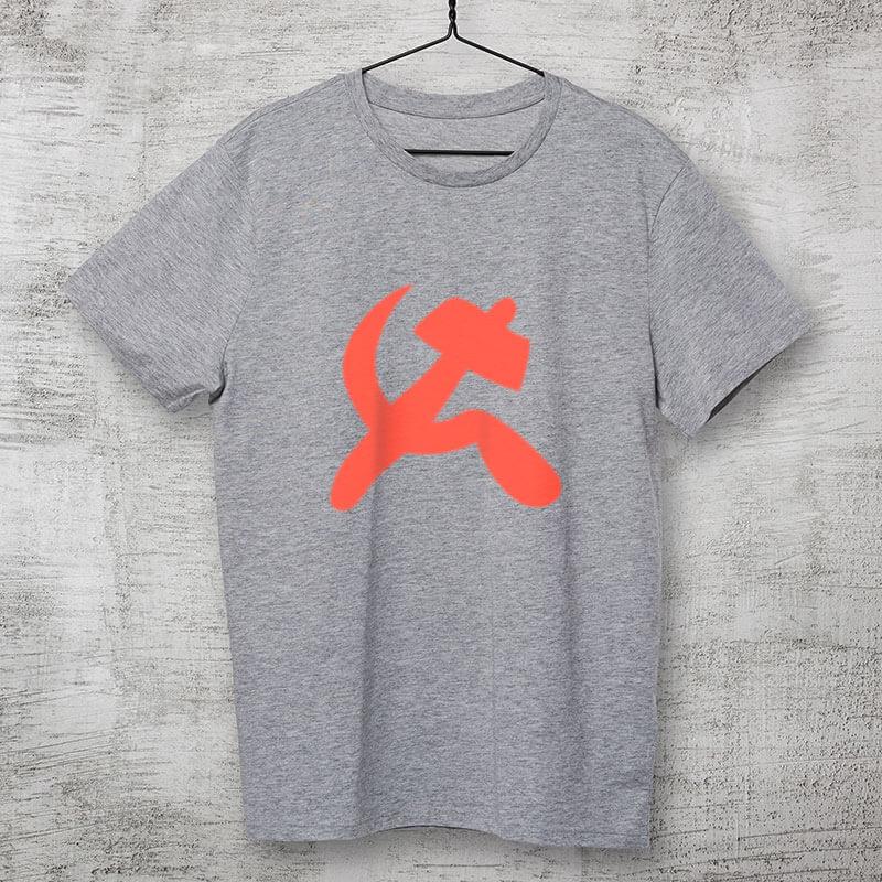 Camiseta foice e martelo comuna - cinza