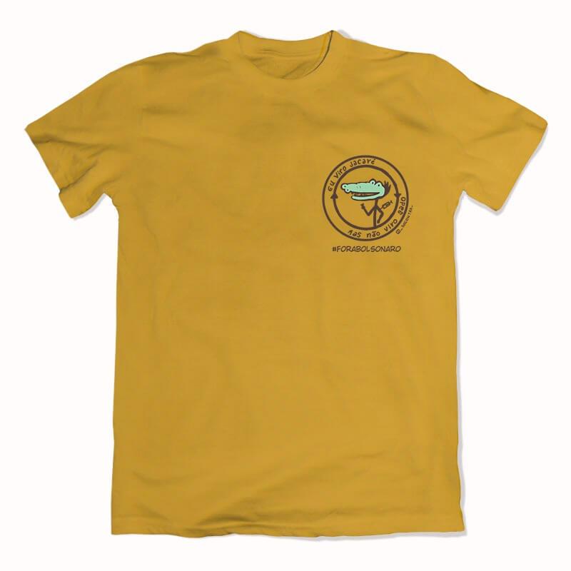 camiseta eu viro jacaré mas não viro gado escudo amarelo