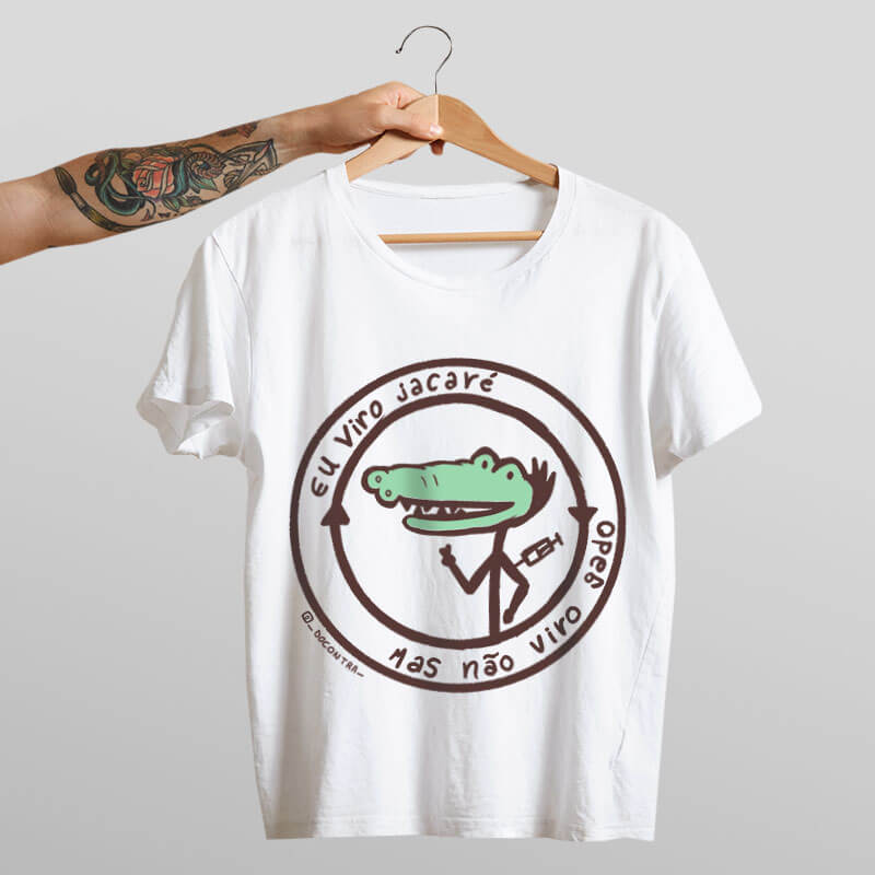 Camiseta vacinaçao jacare branca