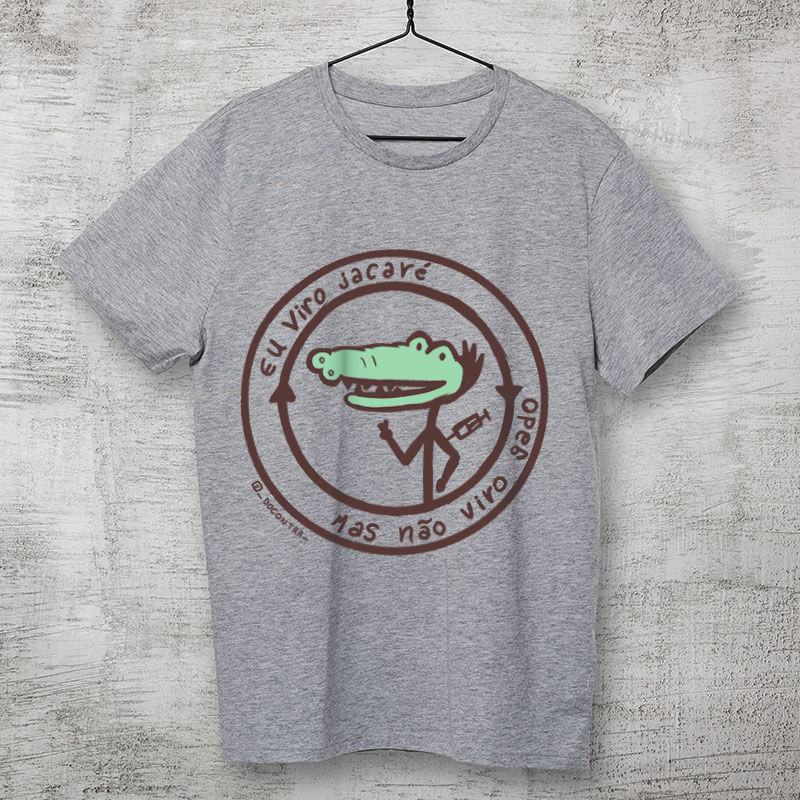 Camiseta vacinaçao jacare cinza