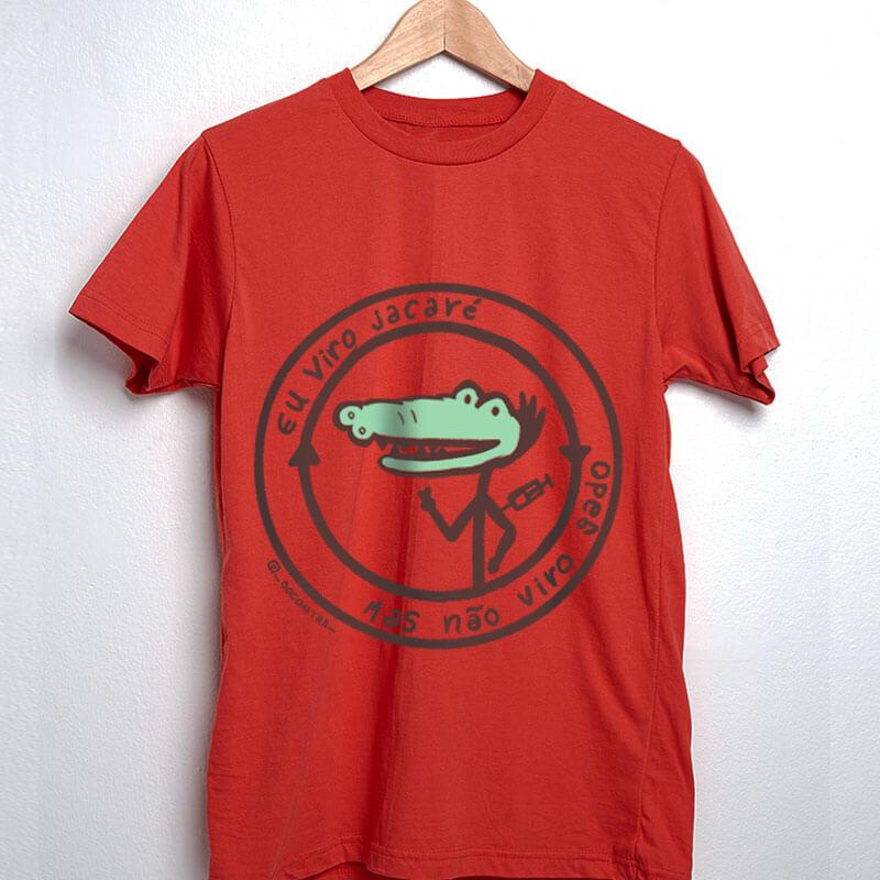 Camiseta vacinaçao jacare vermelha