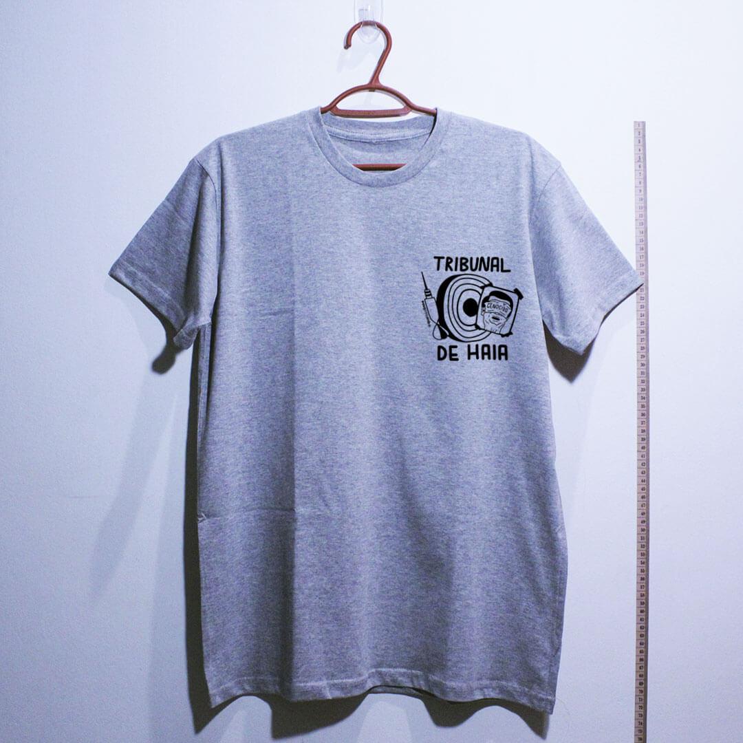 camiseta-Fora-Bolsonaro-Tribunal-de-Haia-cinza clara algodão