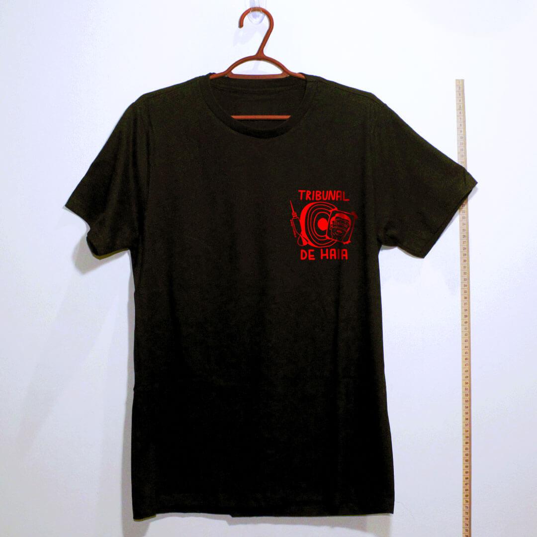 camiseta-Fora-Bolsonaro-Tribunal-de-Haia-preta algodão