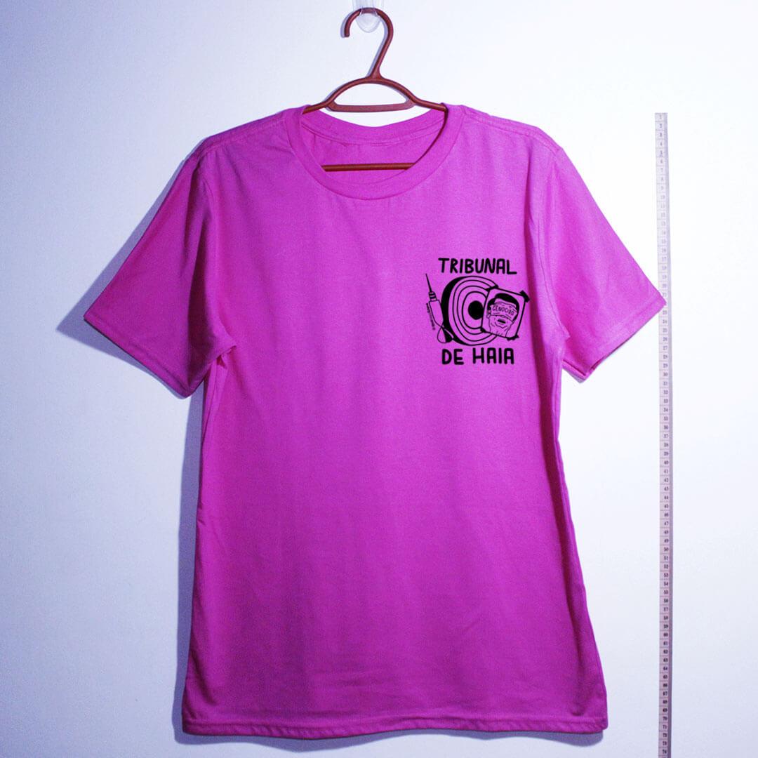 camiseta-Fora-Bolsonaro-Tribunal-de-Haia-rosa algodão