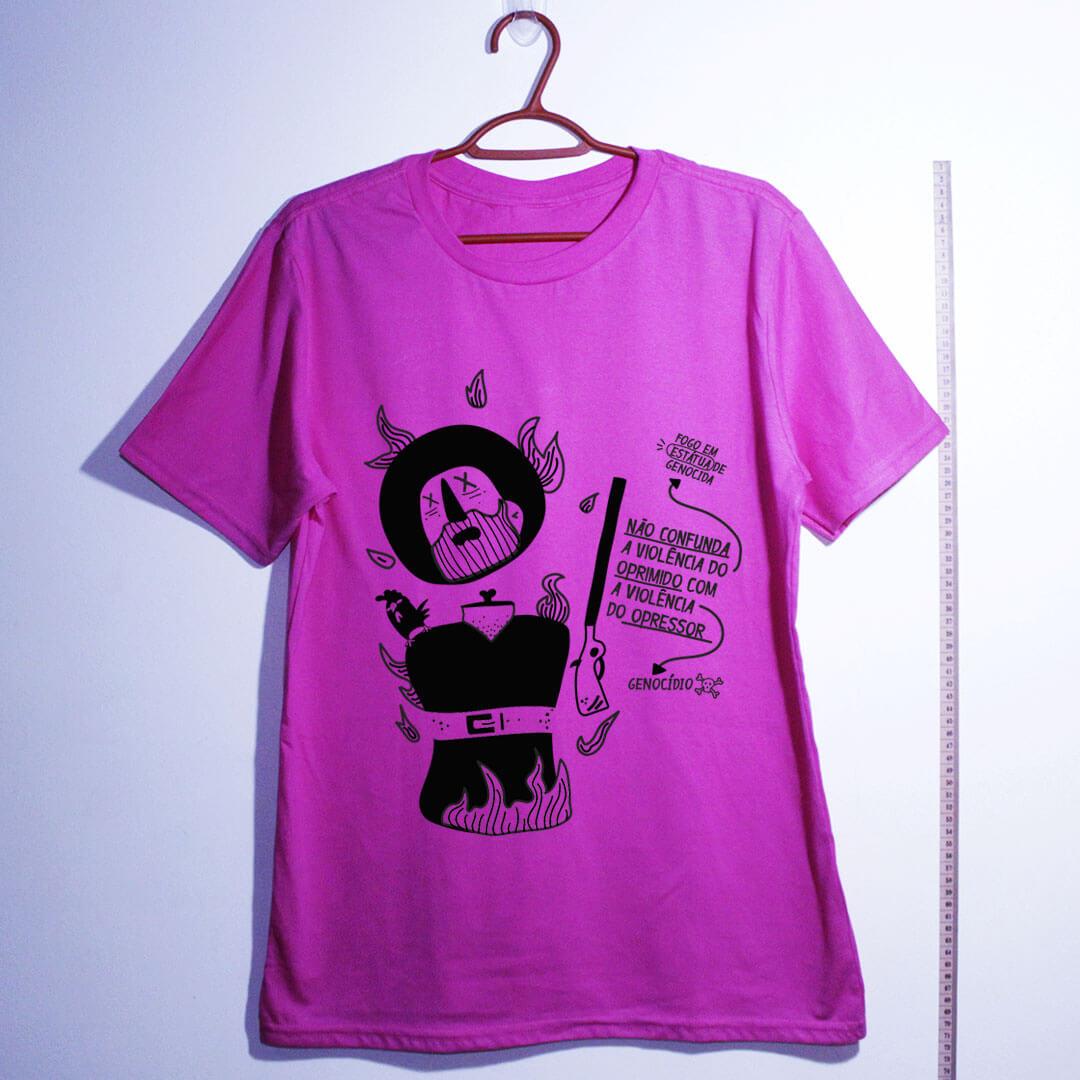 camiseta algodão -borba-gato-rosa