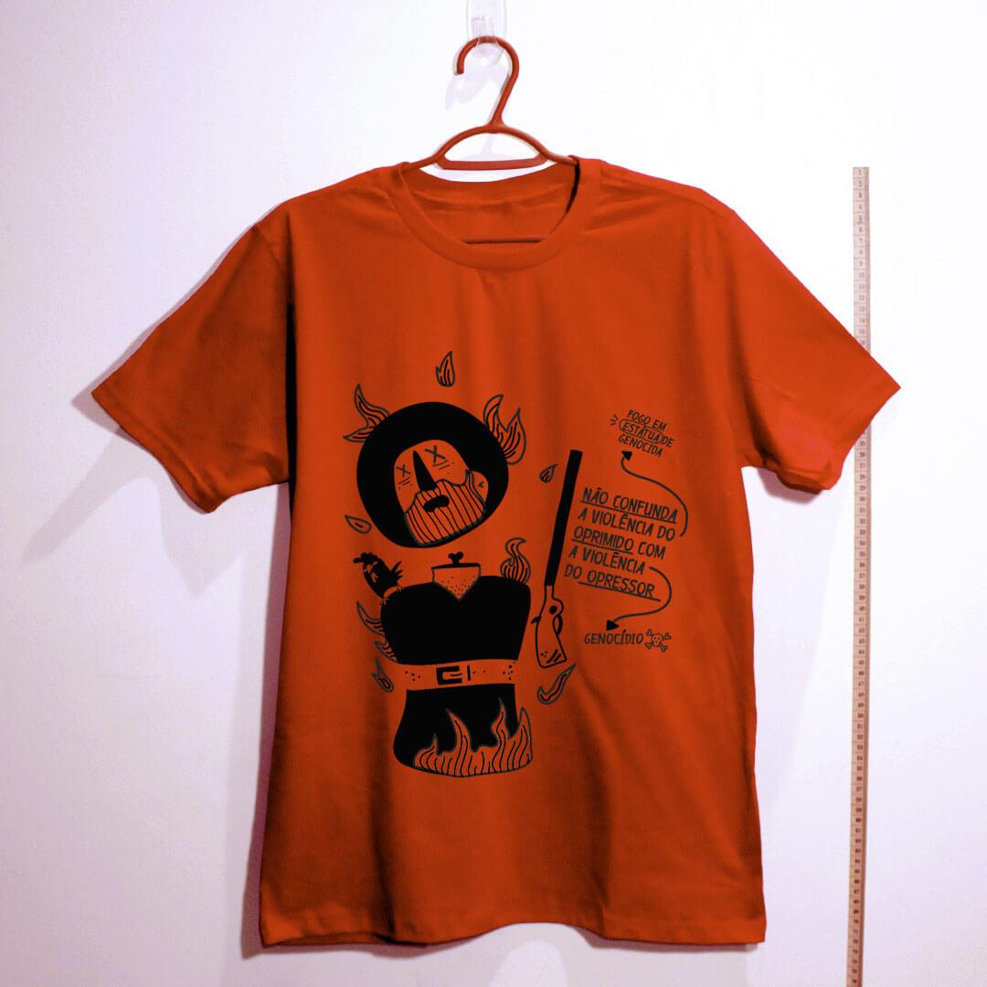 camiseta-borba-gato-vermelha de algodão