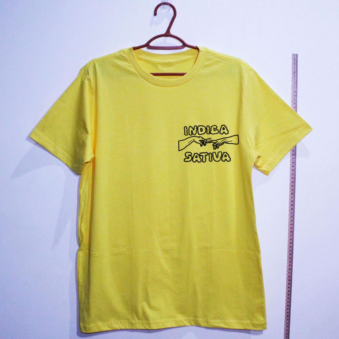 Camiseta de algodão Indica Sativa Amarela