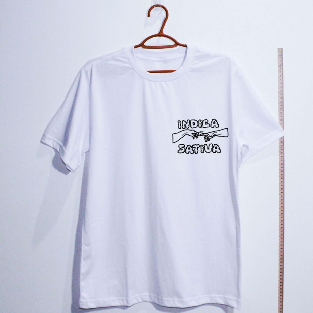 Camiseta de algodão Indica Sativa Branca
