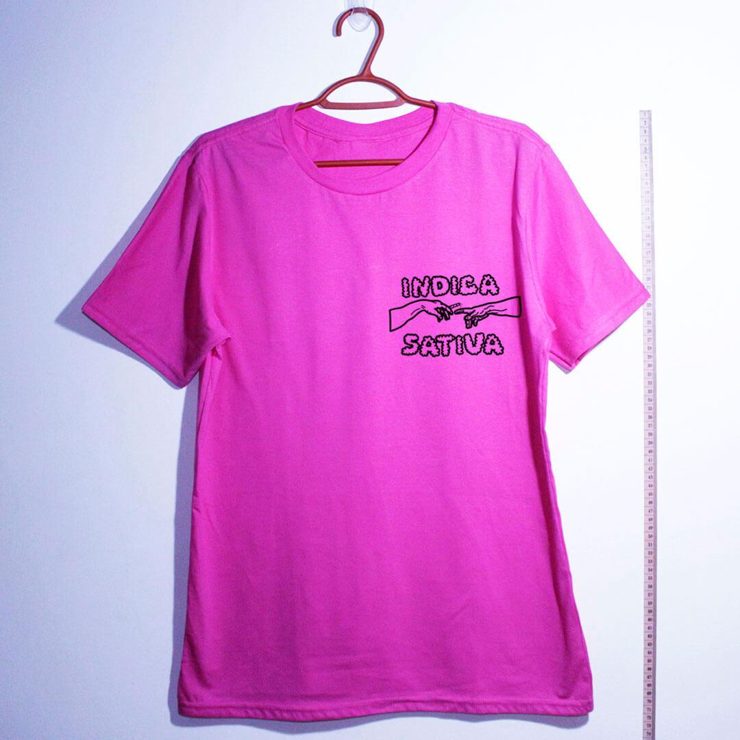 Camiseta de algodão Indica Sativa rosa