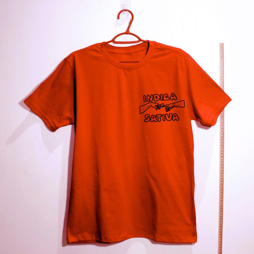 Camiseta de algodão Indica Sativa vermelho