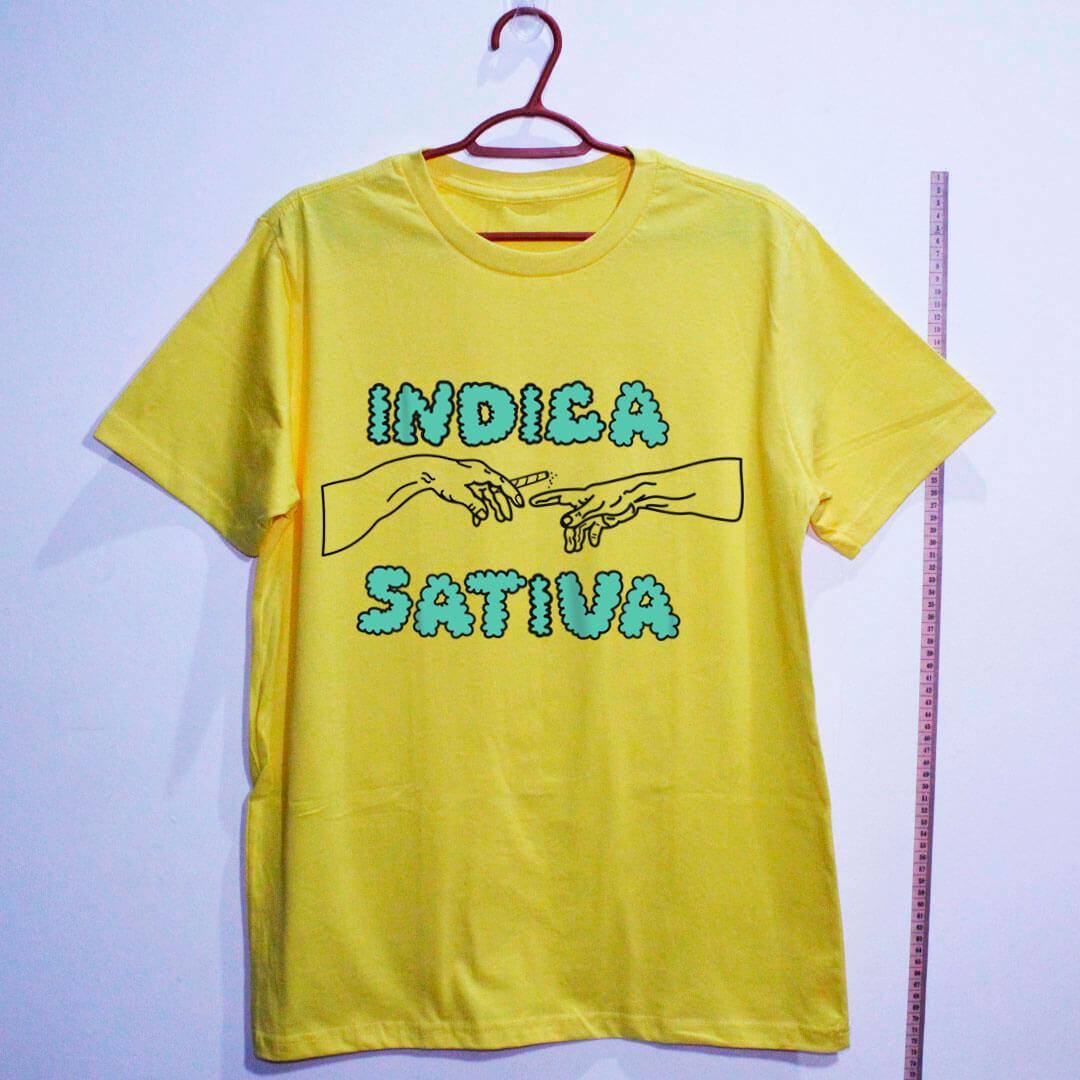 camiseta de algodão-maconha indica-amarela