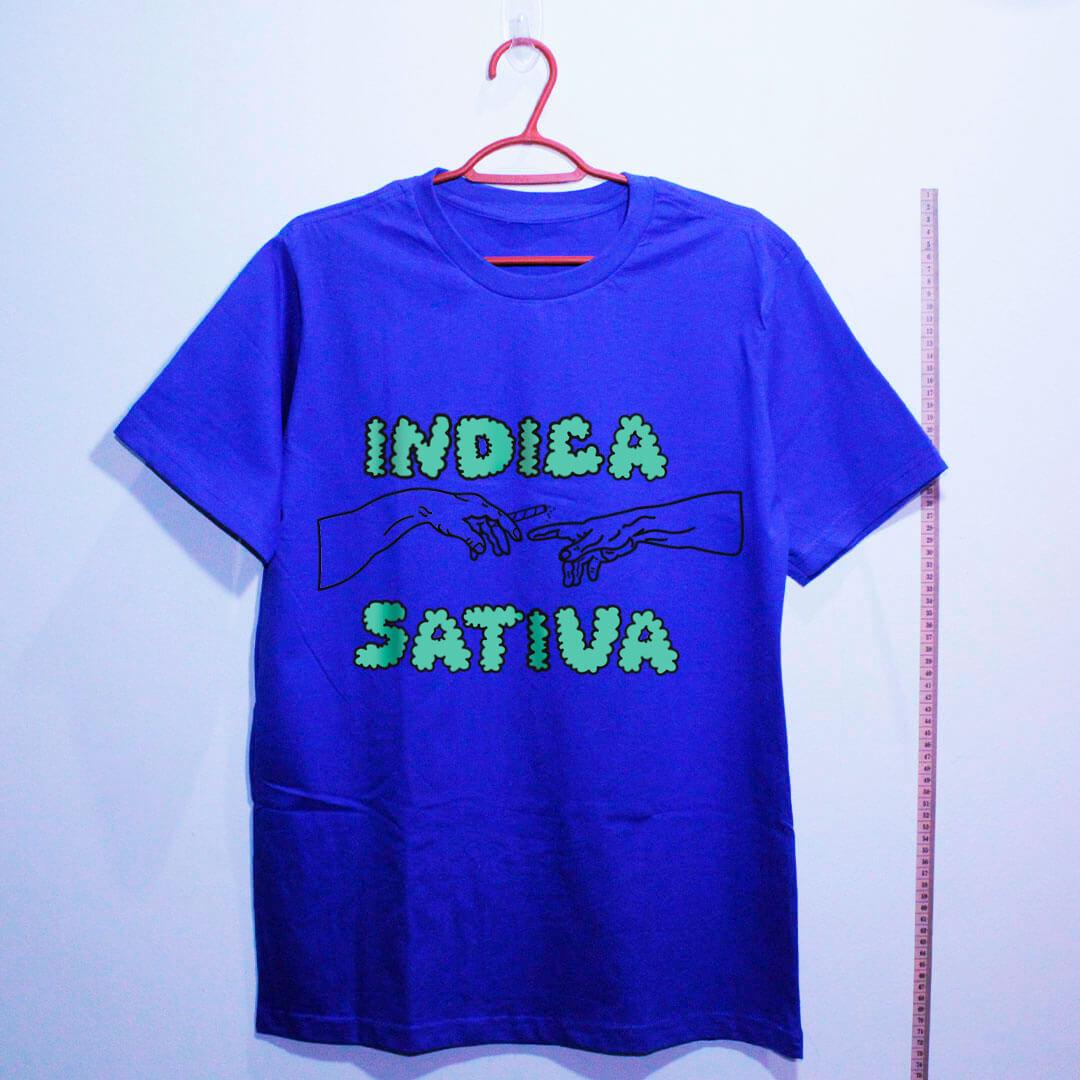 camiseta de algodão-maconha indica-azul