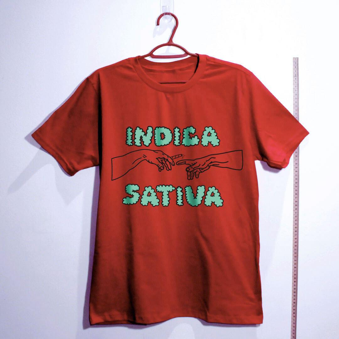 camiseta de algodão-maconha indica-vermelha