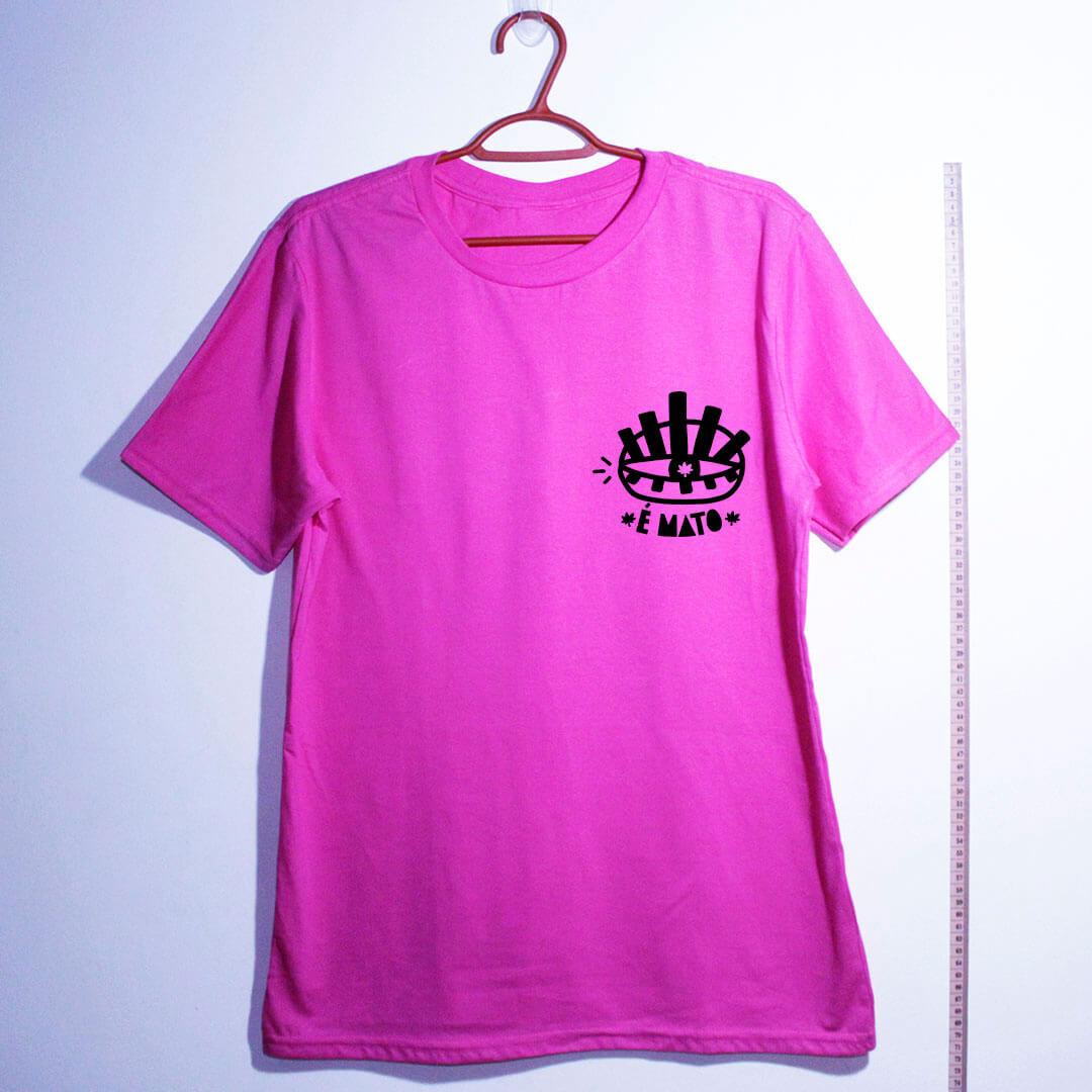 camiseta-rosa de algodão-emblema-cannabis